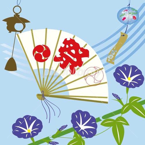 扇子とアサガオの夏の風物詩 イラスト素材 2056369 フォトライブ