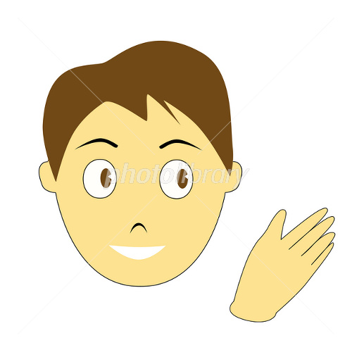 左向きで説明する男性の顔のイラスト イラスト素材 2060915 フォト