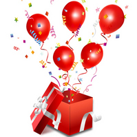 Red balloons and confetti that jump out from gift [2059513] Giveaway