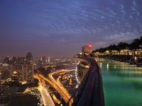 Marina Bay Sands rooftop pool early morning 6:00 Stock photo [2160863] Singapore