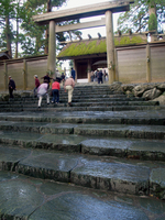 Ise Shrine of wet stone steps is controversial taste Stock photo [61793] Grand