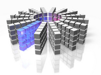 3DCG illustrations representing the high-performance database array Rendering