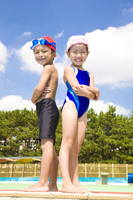 Children men and women of smile swimsuit Stock photo [2415025] Person