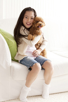 Girl smile hug toy poodle Stock photo [2415634] Person
