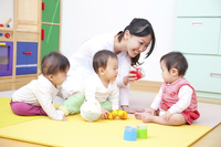 Nursery and nursery school children playing with toys Stock photo [2415774] Baby