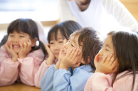 Kindergarten children to smile about the Hozue Stock photo [2415970] Happy