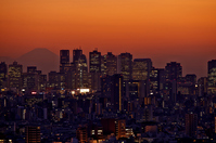 Shinjuku skyscrapers of sunset and Fuji silhouette Stock photo [2420174] Shinjuku
