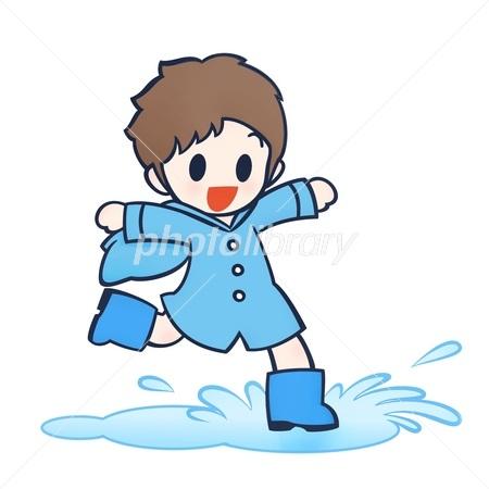 水たまりに飛び込む男の子 イラスト素材 2653347 フォトライブ