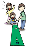 Young dad to enjoy the putter golf in family travel [2647008] Golf