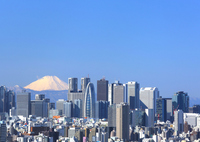 I hope at the same time the Mount Fuji and Shinjuku skyscrapers from the city center stock photo