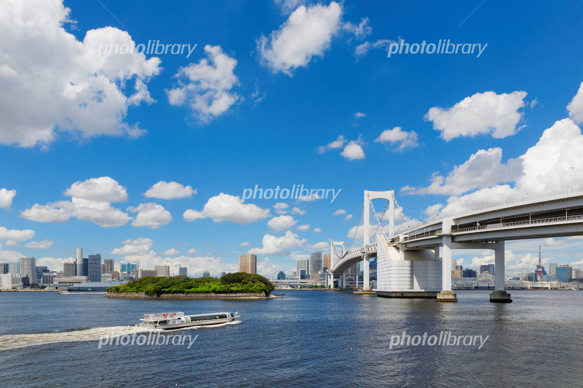 Rainbow Bridge and the water bus blue sky spreads Photo