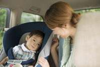 Mother to talk to children riding in child seat Stock photo [2816351] Person
