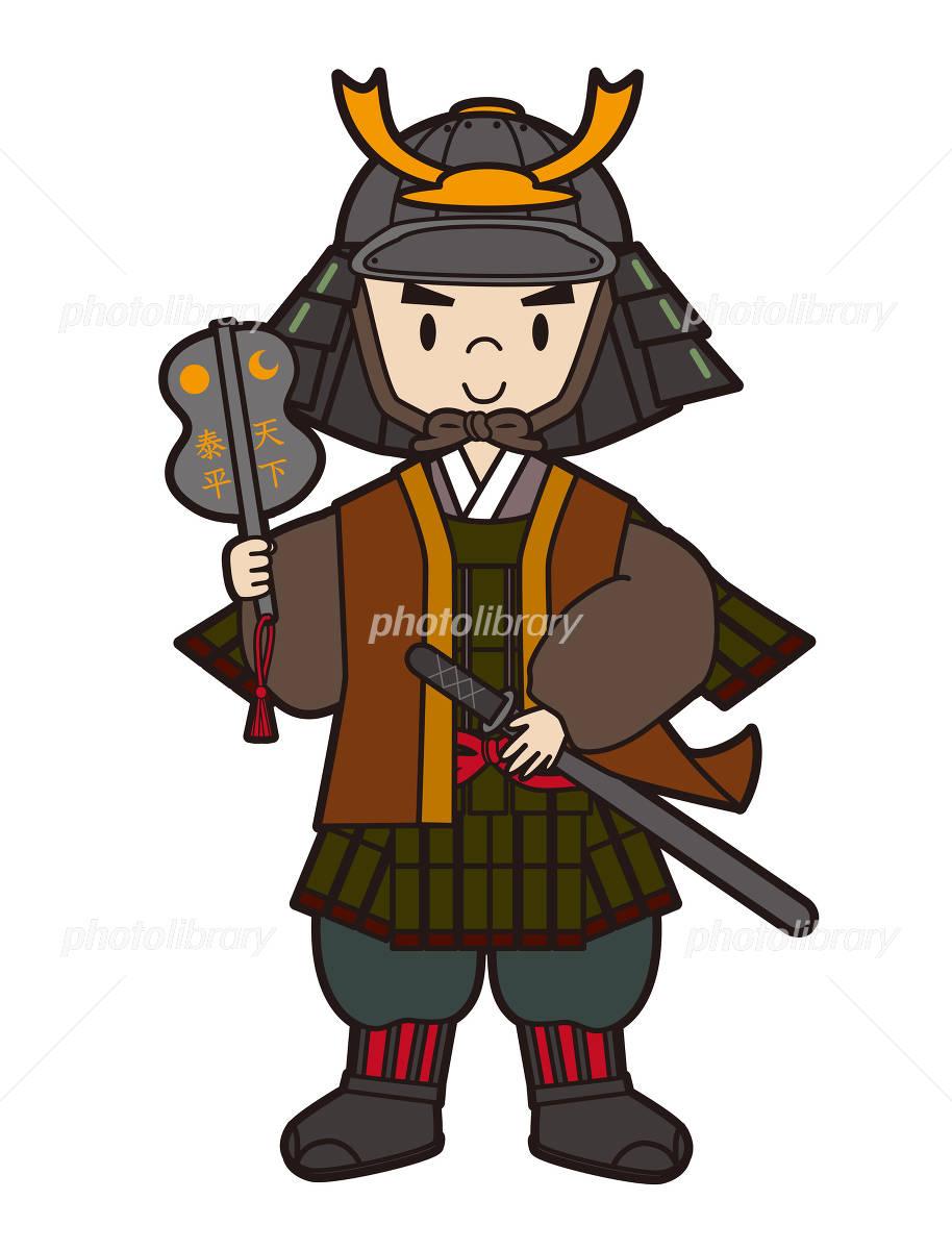 和風挿絵カットイラスト侍と刀と松と日の丸9色パターン イラスト素材