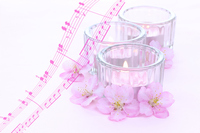 Synthesis of pink aroma candles and cherry flowers and music Stock photo [2986786] Aroma
