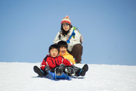 Fun and parent-child snow sled in the ski resort Stock photo [2991134] Sled