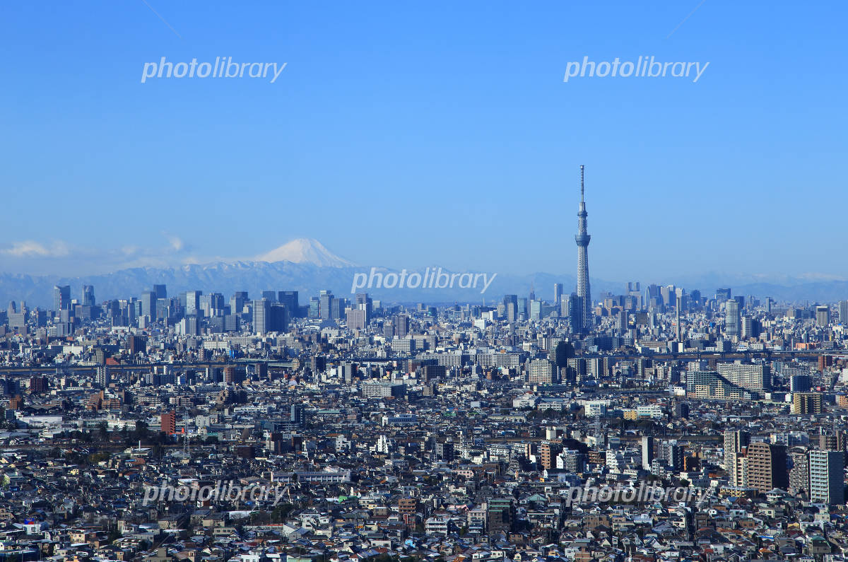 Tokyo urban landscape Sky Tree and Mount Fuji Photo
