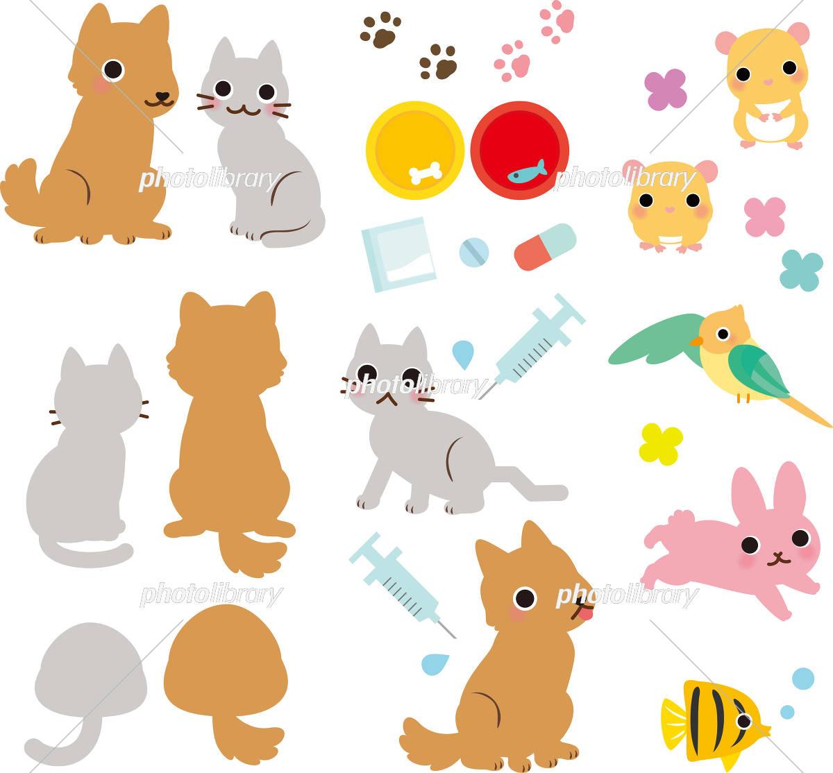 ペット 小動物 正面 後ろ姿 コピースペース イラスト素材 3892049