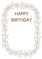 Plumeria birthday card Brown [3070085] Plumeria