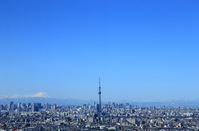 Urban landscape Sky Tree and Mount Fuji and the blue sky of Tokyo Stock photo [3070475] Tokyo