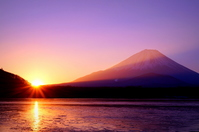 First sunrise of Lake Shoji stock photo