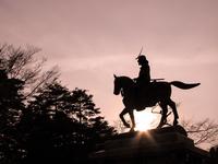 Date Masamune equestrian statue Miyagi Stock photo [3369885] Stone