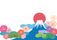 Japanese pattern Fuji sunrise stock photo