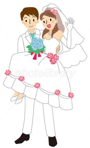 お姫様抱っこをする新郎と手を上げる新婦 イラスト素材 3459976