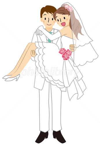 お姫様抱っこをする新郎と新婦 イラスト素材 3459987 フォトライブ