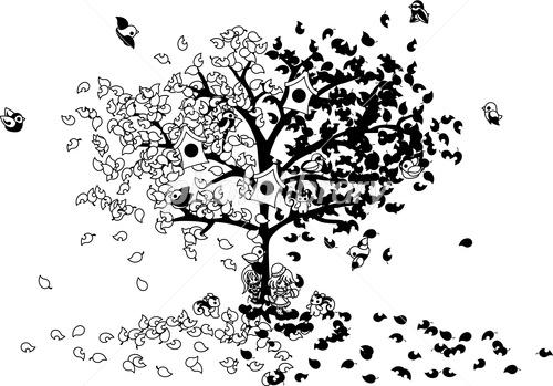 二人の少女が大きな木にもたれているイラスト イラスト素材 3555263