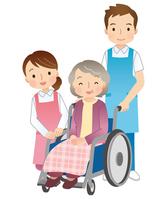 Wheelchair old man and a helper [3557681] Wheelchair