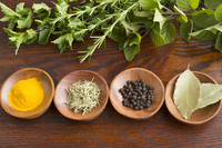 Herbs and spices that had the small plates of wood Stock photo [3775046] Herb