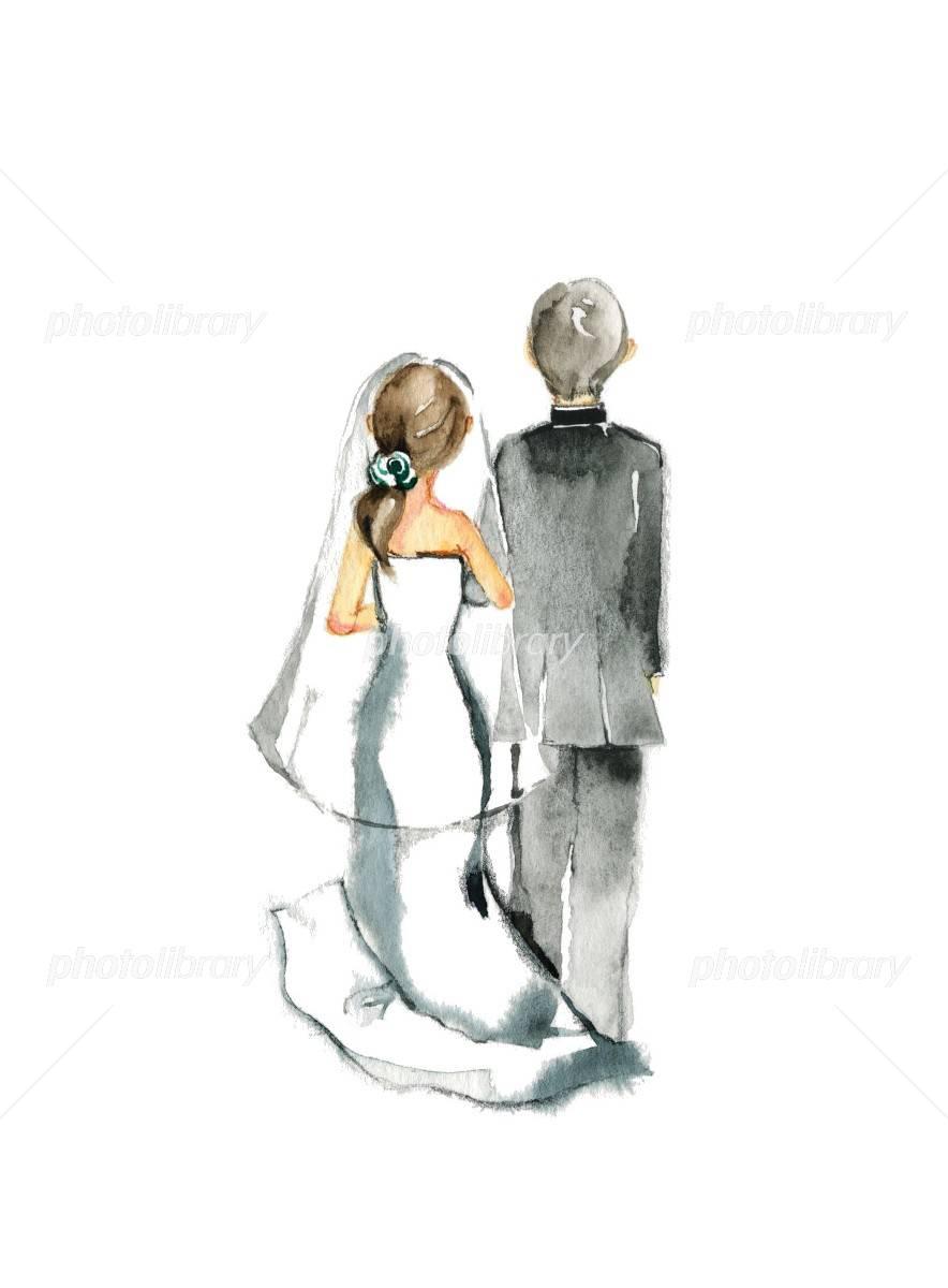 結婚式 後ろ姿 イラスト素材 [ 3897930 ] , フォトライブラリー