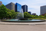 Large fountain and blue sky of Hibiya Park Stock photo [3896974] Hibiya