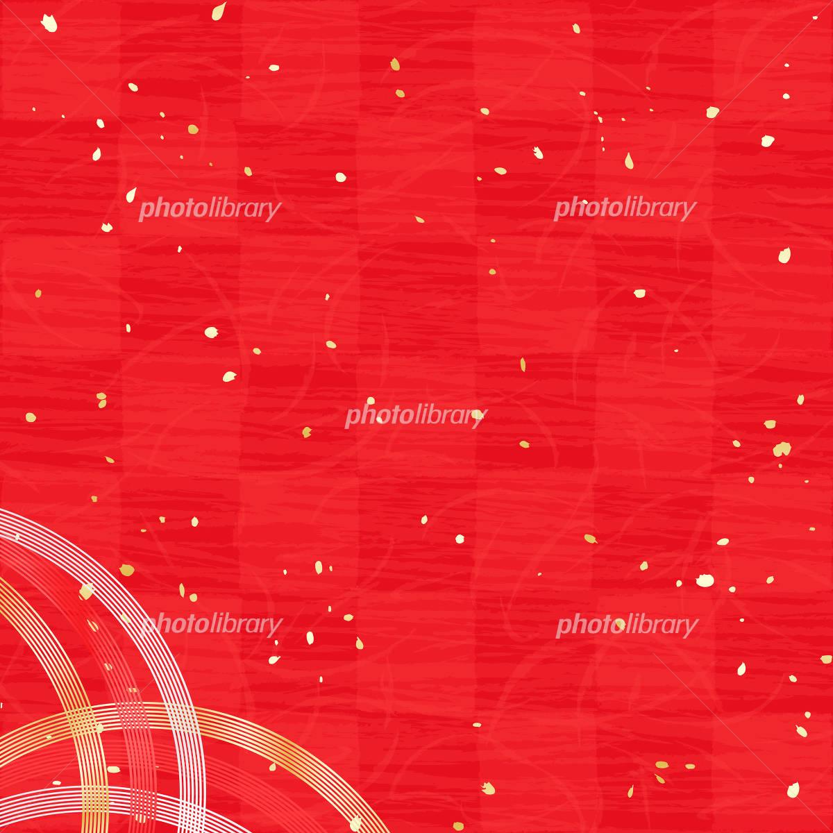 Vermilion red checkered paper gold and silver Mizuhiki イラスト素材