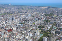 Miyazaki city center as seen from the sky Stock photo [3976672] Miyazaki