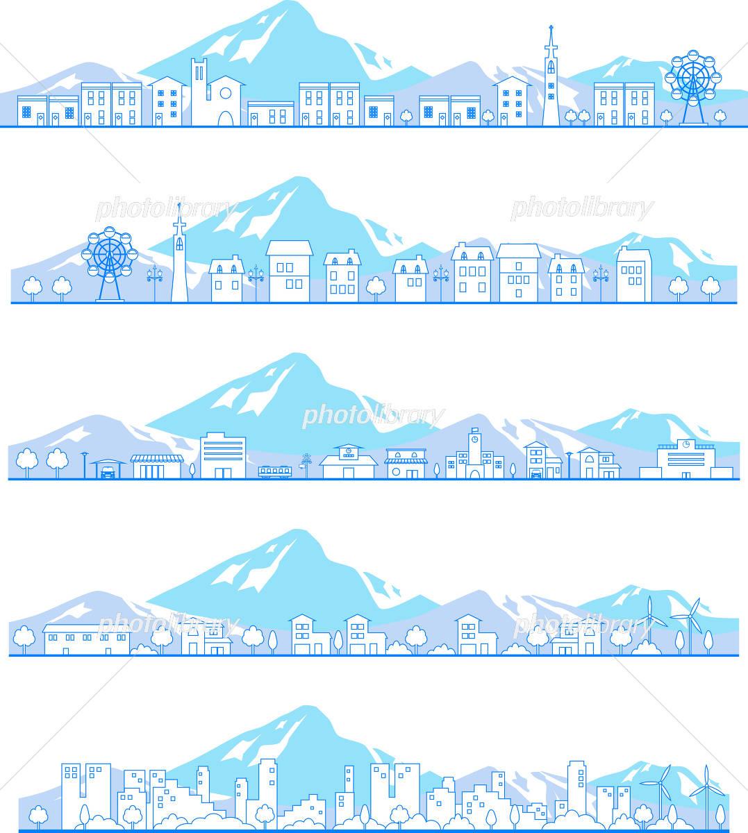 街並みと雪山 イラスト素材 4061610 フォトライブラリー Photolibrary