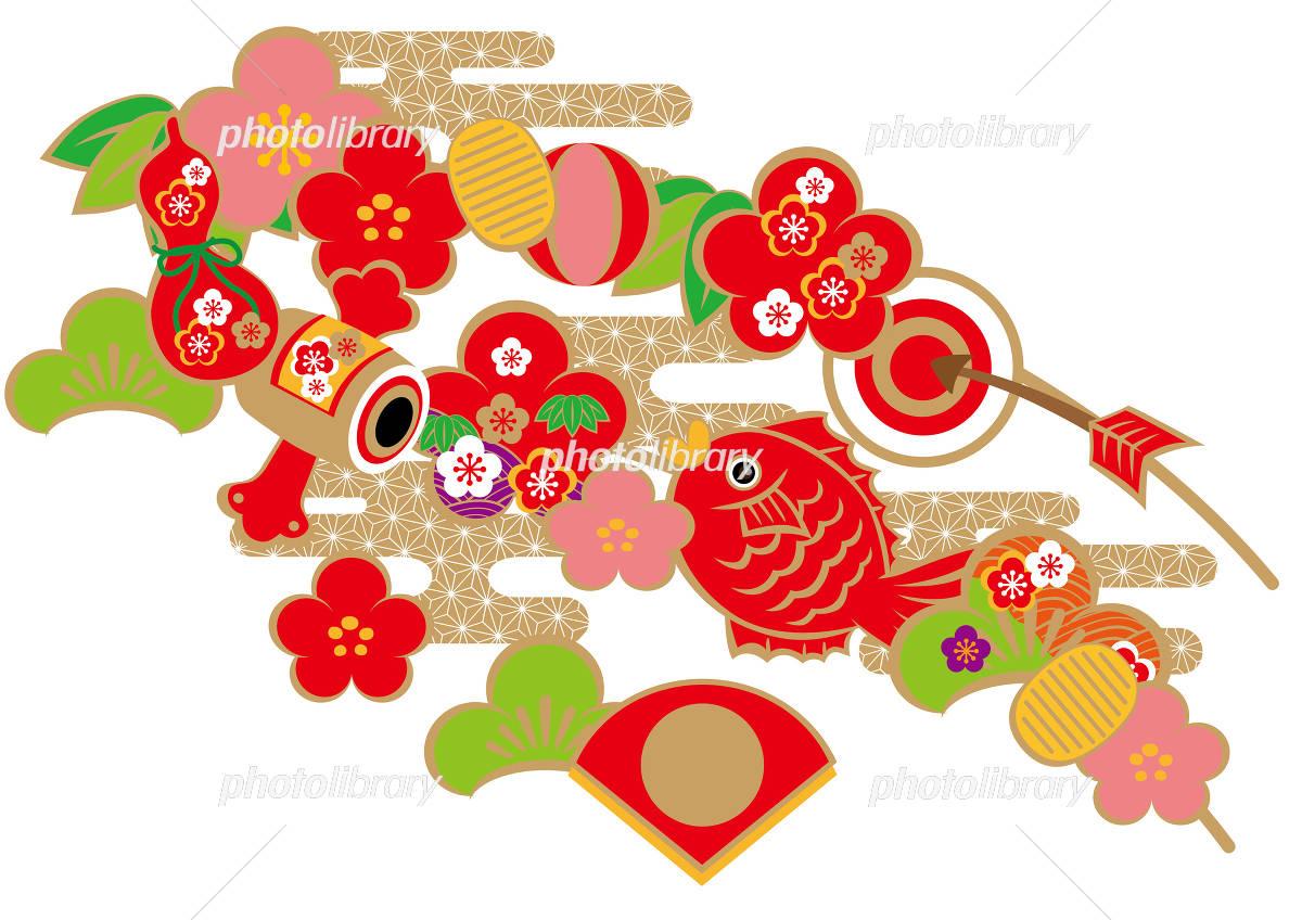 鯛 正月飾りのイラスト素材