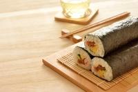 Sushi wood grain background Stock photo [4143642] Sushi