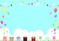 Gift box blue sky background [4145620] Valentine
