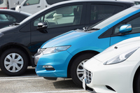 Passenger cars lined up in the parking lot Stock photo [4238694] Parking
