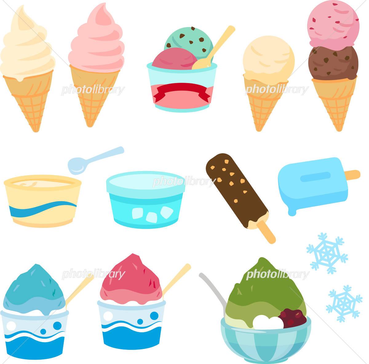 アイスクリームとかき氷のイラストセット イラスト素材 4286708