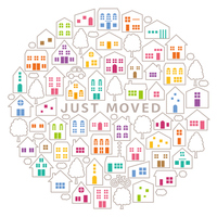 Circle colorful stuffed a moving postcard house icon [4293360] moving