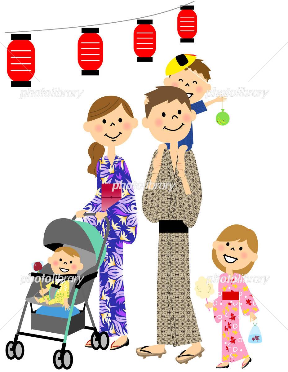 家族でお祭り イラスト素材 4370617 フォトライブラリー Photolibrary