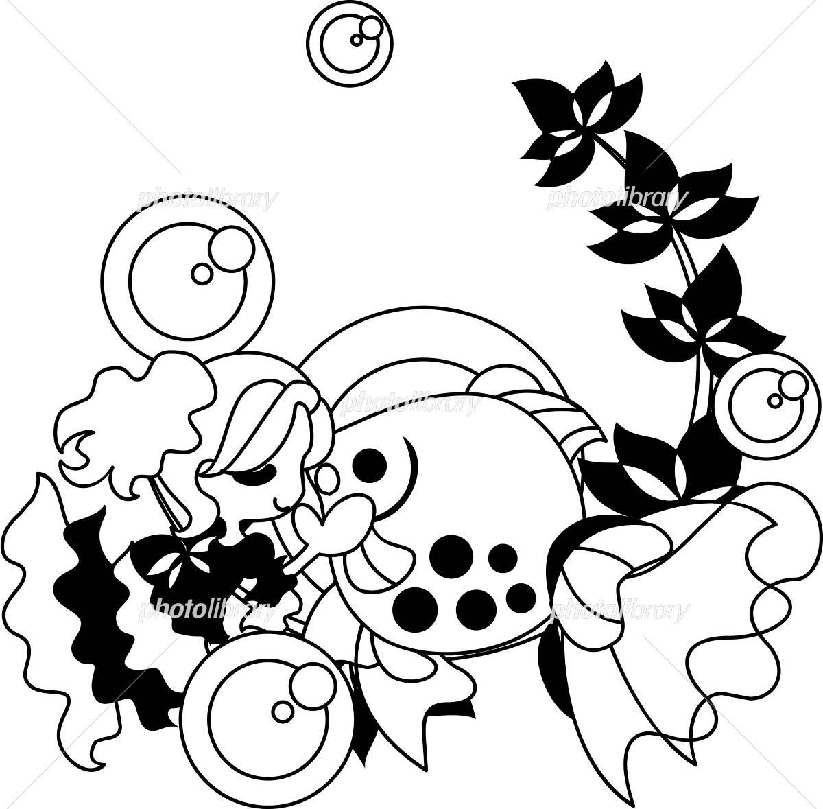 金魚と女の子のイラストモノクロ イラスト素材 4373194 フォト