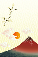Fuji and the crane and the first sunrise [4370182] First