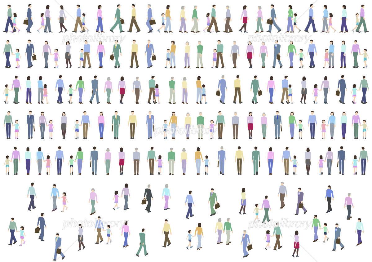 人波 群衆 人物 歩く イラスト素材 4454452 フォトライブラリー