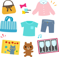 Goods of illustrations set of bazaars and flea market [4447069] bazaar