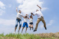 Blue sky outside the spring elementary school kindergarten parent middle generation that fall fly four families jump Stock photo [4450361] Jump