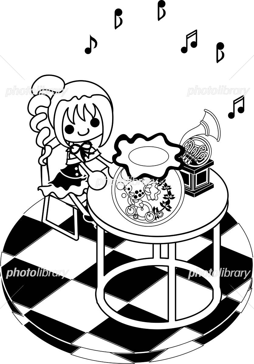 女の子と金魚鉢のイラストモノクロ イラスト素材 4535796 フォト
