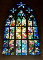 Stained-glass windows of St. Vitus Cathedral Mucha Stock photo [4542248] St.
